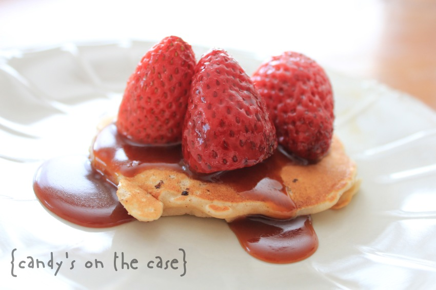 Oat Pancakes with Roasted Strawberries & Salted Caramel Sauce
